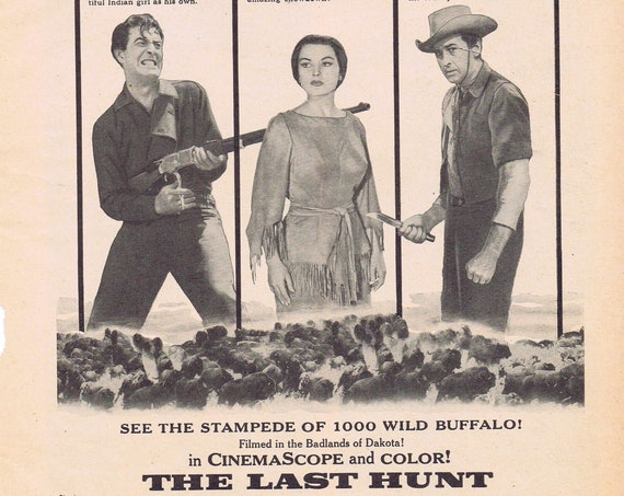 The Last Hunt 1956 Vintage Movie ad with Robert Taylor and Stewart Granger