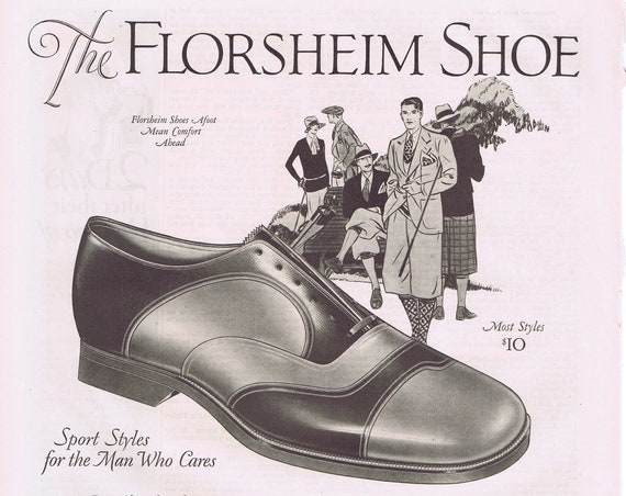 Vintage Men's Florsheim Shoes in 1927 Old Advertisement
