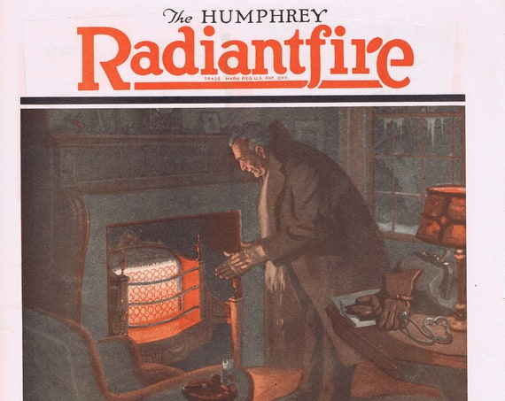 1924 Humphrey Radiantfire Gas Fireplace and Heater Original Vintage Advertisement by General Gas Light Company
