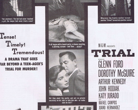 1955 Trial Crime Drama Original Vintage Movie Advertisement with Glenn Ford and Dorothy McGuire