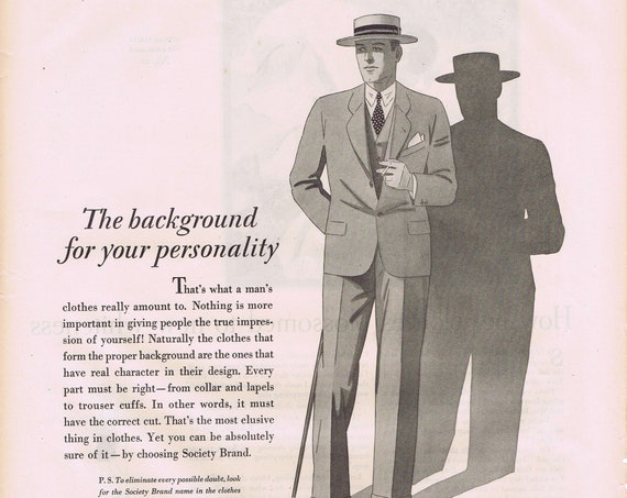 Society Brand Clothes for Men 1927 Old Advertisement with Classic Men's Suit Drawing