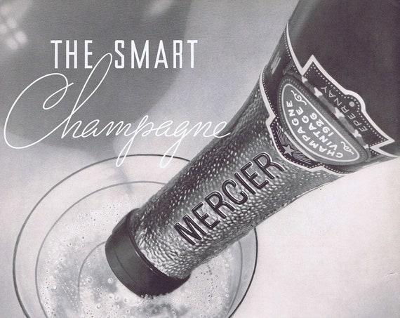 1929 Mercier Smart Vintage Champagne or National Casket Company Original Advertisement