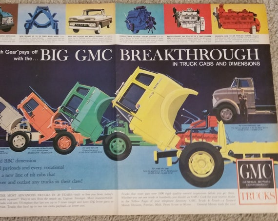 1960 Big GMC Trucks and Cabs High Gear Breakthrough Unique Double-Page Original Vintage Advertisement
