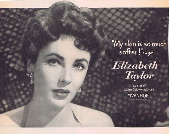 Beautiful Elizabeth Taylor Toilet Soap 1952 Large Original Vintage Advertisement