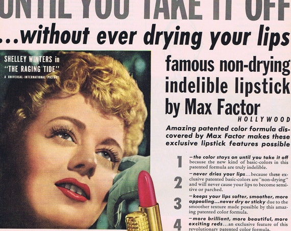 1951 Shelley Winters Max Factor Lipstick Original Vintage Advertisement