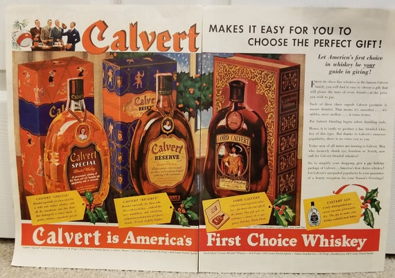 1939 Lord Calvert, Reserve and Special Blended Whiskey Unique Double Page Original Vintage Christmas Advertisement