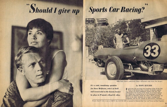 Young Steve McQueen and Wife Neile Adams Sports Car and Family 1960 Original Vintage 4 Pages Feature Story and Pictures