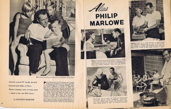 Philip Carey Alias Philip Marlowe and Family 1960 Vintage Feature Story with Pictures