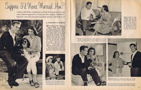 1960 Young 37-Year-Old Bob Barker and Wife Dorothy Jo Original Vintage Feature Story and Pictures