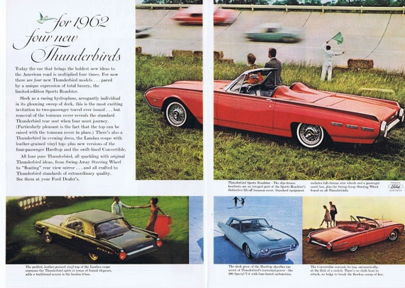 1962 New Ford Thunderbirds Unique Double-Page Original Vintage Automobile Advertisement with 4 Models