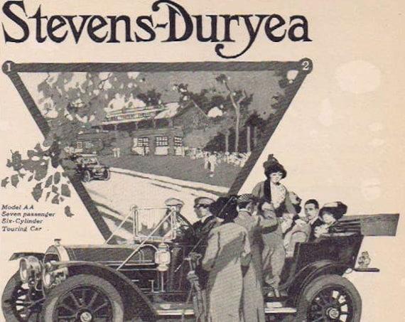 1912 Stevens-Duryea Model AA Six-Cylinder  Seven Passenger  Touring Car Original Advertisement