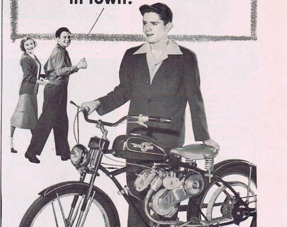 1949 Whizzer Pacemaker Motor Bike Original Vintage Advertisement