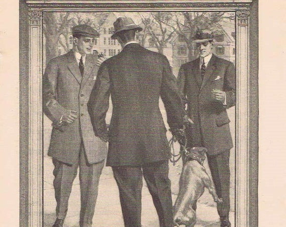Hart, Schaffner & Marx Men's Clothing 1910 Original Vintage Advertisement on the campus of Yale University