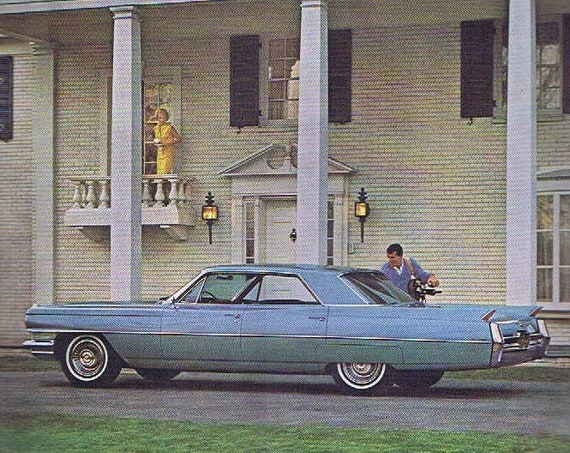 1964 Beautiful Blue Cadillac Automobile Ready to Play Golf Original Vintage Advertisement