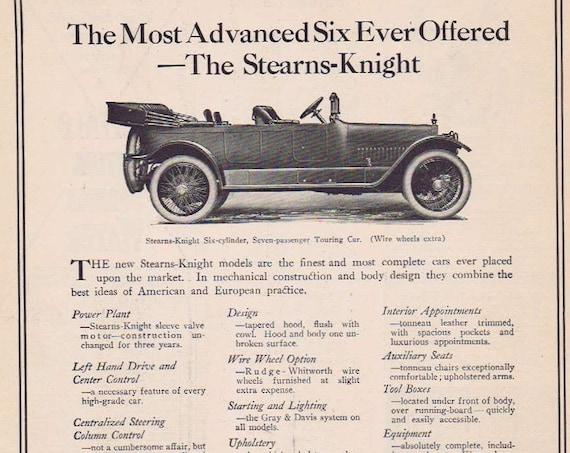 1912 Sterns-Knight Six-Cylinder Seven-Passenger Touring Car Original Advertisement
