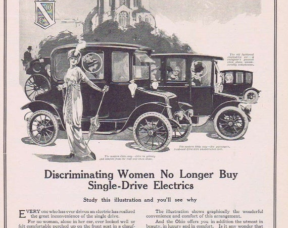 Discriminating Women and Beautiful 1913 Ohio Electric Cars Original Vintage Advertisement