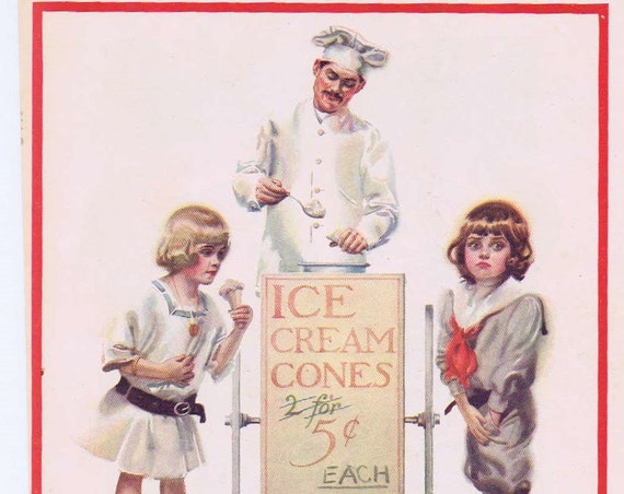 1913 Adorable Old Time Ice Cream Cones High Cost of Living Drawing by Walter Tittle Bonus 5 cent Coca-Cola Ad on the back.