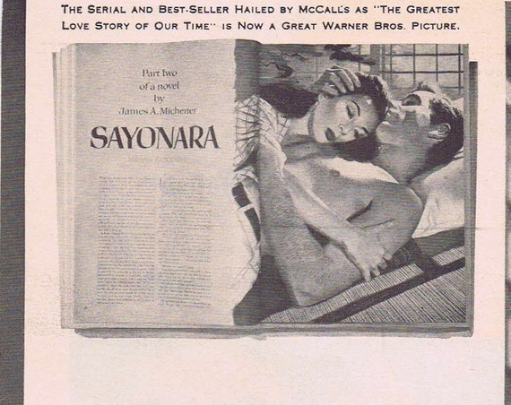 Marlon Brando Sayonara 1957 Original Vintage Movie Ad Korean War Romance Drama