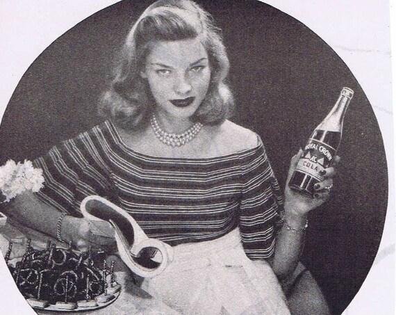 1947 Lauren Bacall Royal Crown Cola Original Vintage Advertisement Starring in Dark Passage