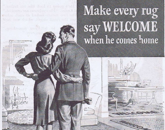 1944 WW2 Make Him Welcome When He Comes Home Circle Tread Ozite Rug Cushion with Des-Tex Foam Original Vintage Advertisement