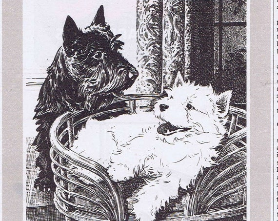 1942 Black & White Scotch Original Vintage Advertisement with Black Scottie and White Westie Dog Mascots Relaxing Together