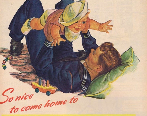 1944 WW2 Sailor Soldier Coming Home and Baby Carnation Milk Original Vintage Advertisement with Baby's Vegetable Soup Recipe Wonderful Art