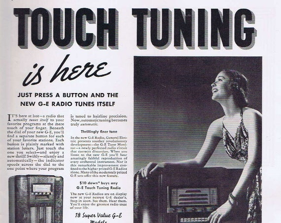 Pretty Girl and Touch Tone Radio Tuning in 1937 General Electric Radio Old Advertisement