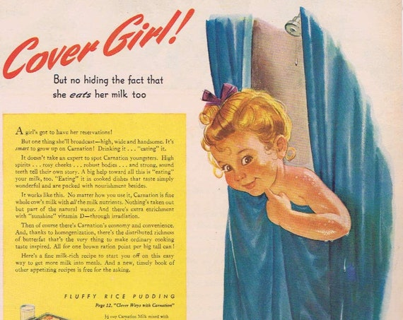 1944 Cover Girl Carnation Milk Original Vintage Advertisement with Fluffy Rice Pudding Recipe Very Cute and Neat