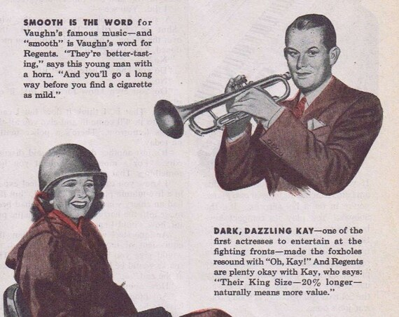 Vaughn Monroe, Kay Francis and Otto Kruger 1944 Vintage Ad for Regent Cigarettes