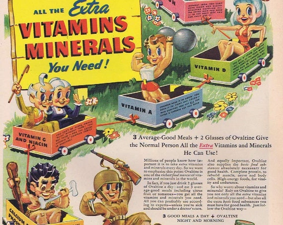 1944 WW2 Era Ovaltine Vitamins and Minerals or President James Madison Magazine Drawing Original Vintage Advertisement