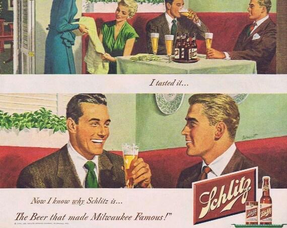 1949 Schlitz Beer Original Vintage Advertisement Dormont 3-Panel Nice Art Drawing