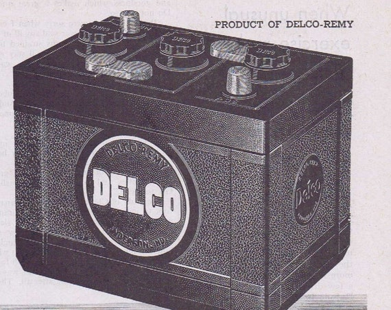 1944 WW2 Era Delco Battery Original Vintage Advertisement Plus Battery Care
