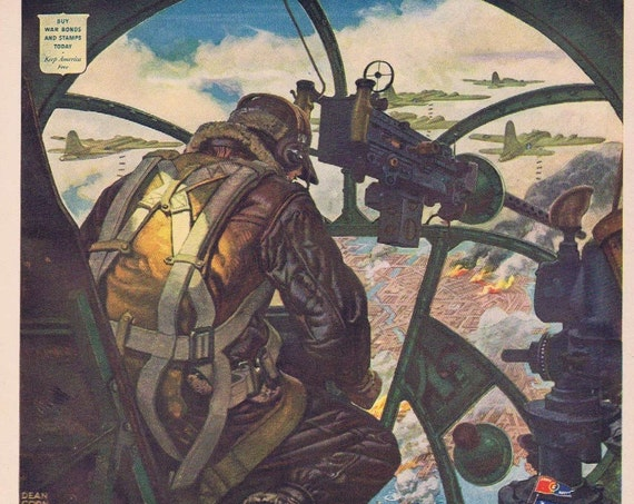 1943 Fisher and General Motors WWII Era Original Advertisement with Army Navy E Flier and Gunner in Cockpit and Art by Dean Corn Well