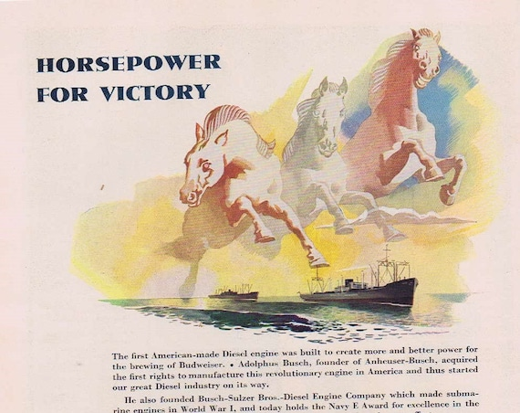1942 Budweiser Anheuser-Busch Beer Original WWII Advertisement with Horsepower For Victory