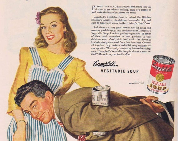 1944 Campbell's Vegetable Soup Did You Marry a Kitchen Snooper Original Vintage Advertisement with Neat Artwork