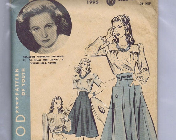 1940 Hollywood  Glamour Vintage Blouse, Skirt and Shorts Pattern Featuring Geraldine Fitzgerald From Film We Shall Meet Again