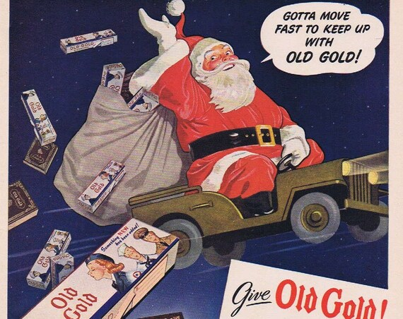 1942 Old Gold Cigarettes Original Vintage Advertisement with Christmas Santa in a Jeep to Soldiers