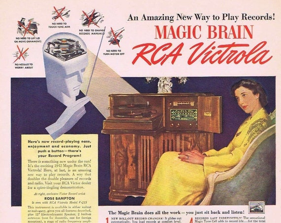 1942 RCA Magic Brain Victrola Record Player Vintage Ad with Rose Bampton