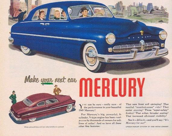 1949 Beautiful Blue Sedan Mercury Automobile or Borden's Eagle Brand Condensed Milk with Magic Lemon Pie Filling Recipe Original Vintage Ad