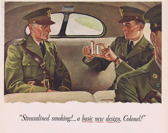 1941 Pall Mall Cigarettes WWII Era Advertisement with Colonel soldier in car art by John Falter