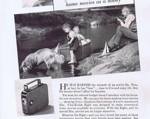 1936 Kodak Eight Camera Original Vintage Advertisement with Grandfather and Grandchildren
