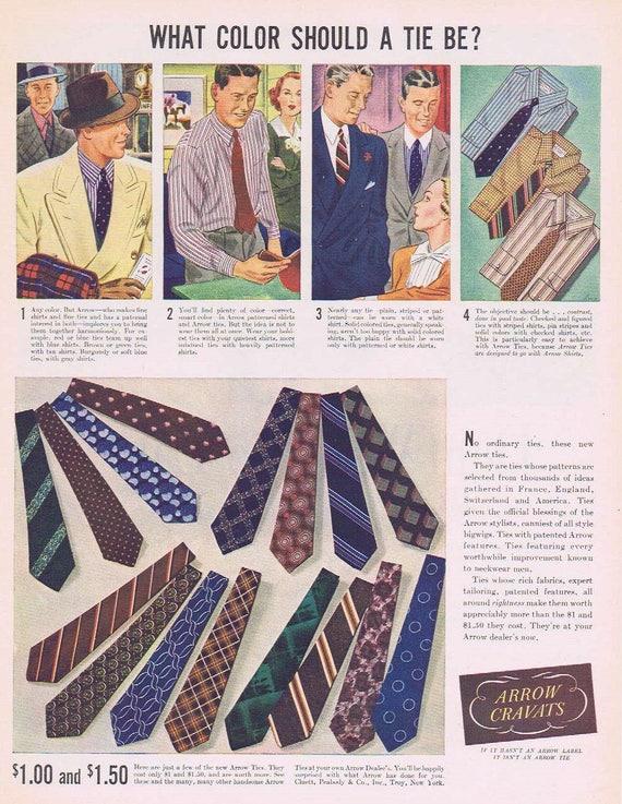 1937 Arrow Men's Ties and Cravats Original Vintage Ad What Color Should a Tie Be?
