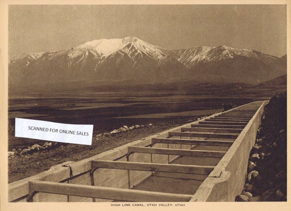 1918 High Line Canal, Utah Valley Sepia Tone Magazine Photo with  Bonus Information