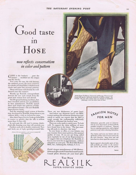 1928 Realsilk Fashion Socks for Men at Sigma Nu House University of Chicago Original Vintage Advertisement