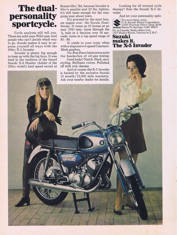 1968 Suzuki X-5 Invader Motorcycle and Two Dual-Personality Girls Original Vintage Advertisement