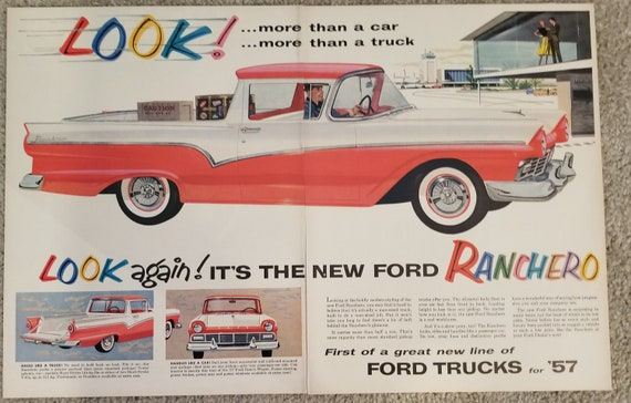1957 New Ford Ranchero Car Unique Giant Double-Page Original Vintage Advertisement with Beautiful Artwork