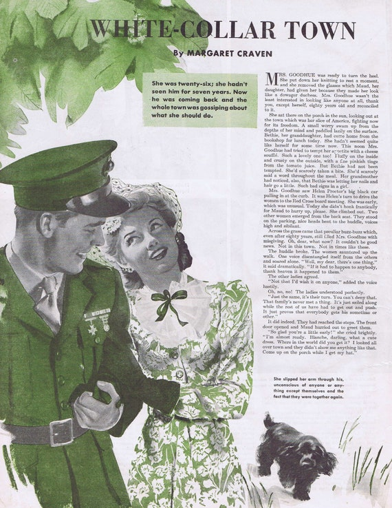 1943 WW2 Soldier and Girl Original Vintage Magazine Drawing with Neat Green Ink Colors