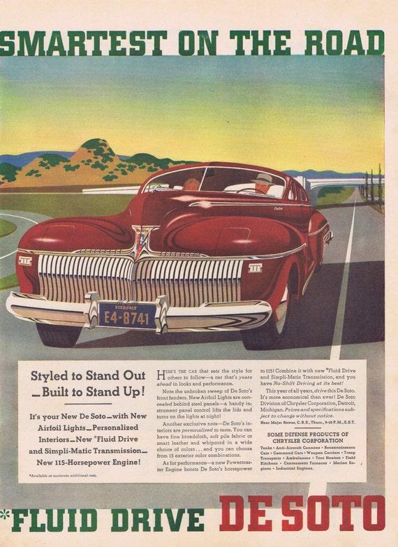 1941 Chrysler De Soto Automobile Original Vintage Advertisement Smartest on the Road