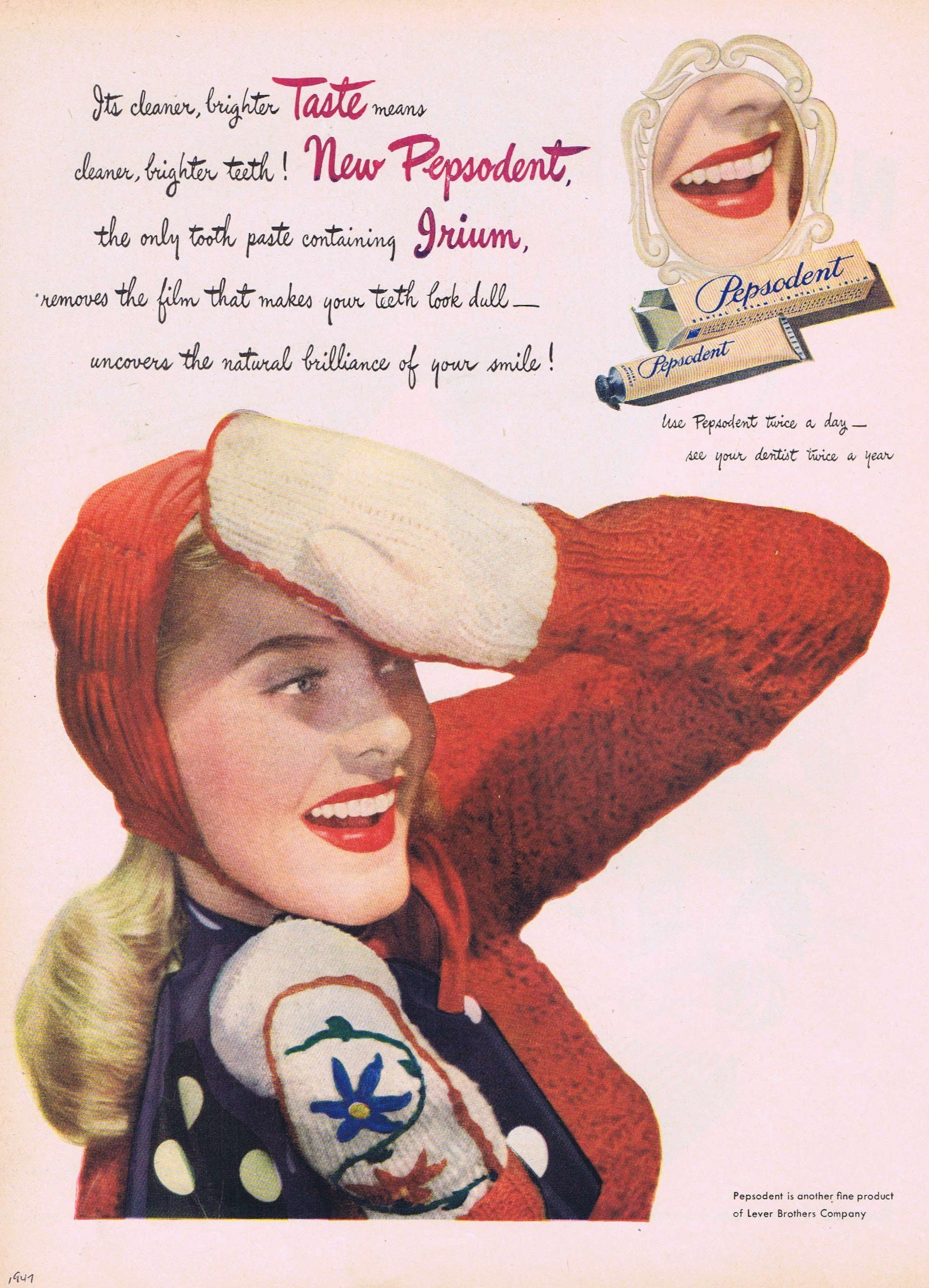 1947 Pepsodent Toothpaste Winter Beauty or Nashua Blankets