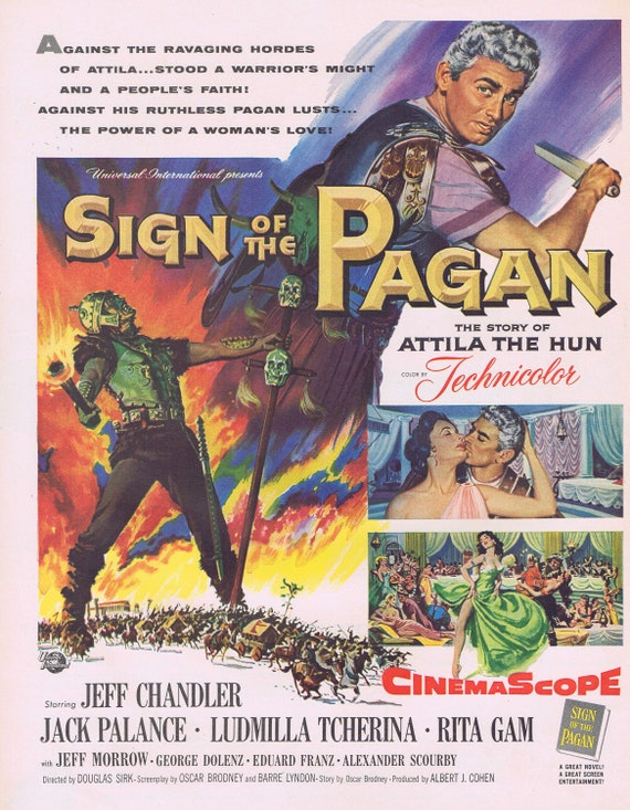 Sign of the Pagan Story of Attila the Hun Movie Ad or 1955 Plymouth Belvedere Sport Coupe Ad
